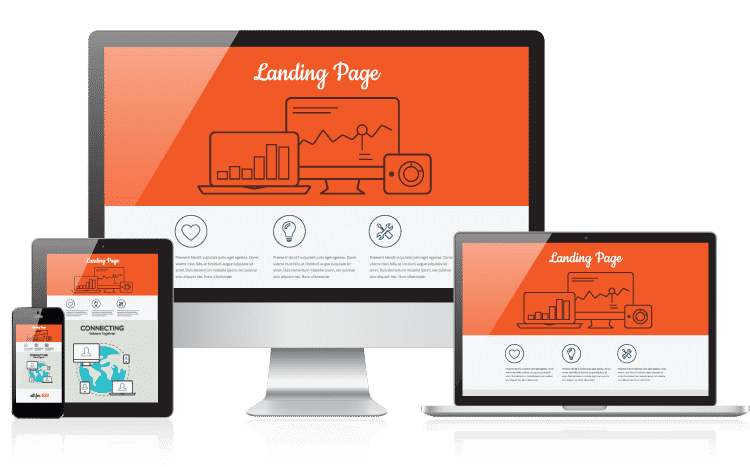 landing page on various devices