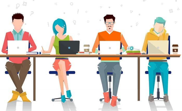 illustration four people working
