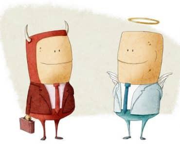 angel businessperson vs devil businessperson business ethics illustration