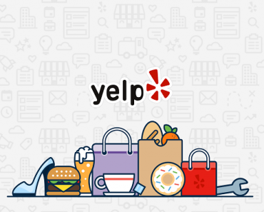 yelp logo and shopping bags