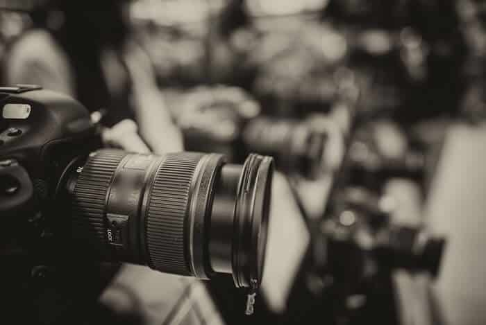 vintage black and white photo of a DSLR camera