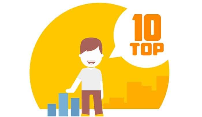man viewing top 10