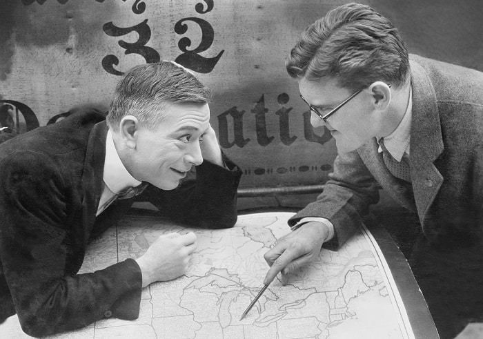businessmen with map