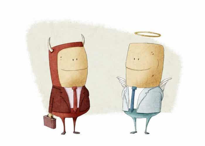 angel businessman and evil businessman