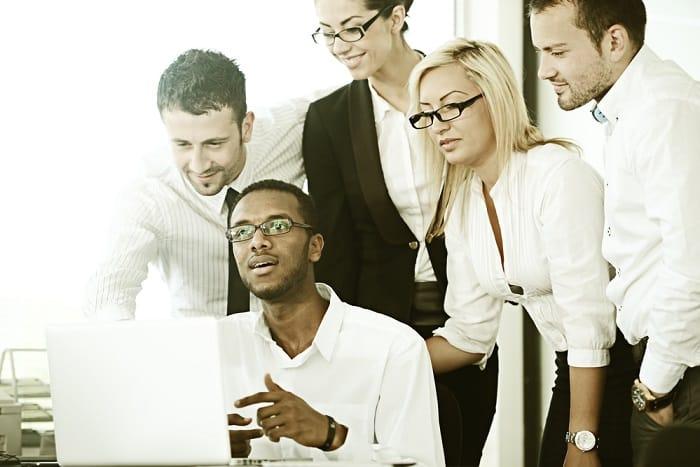 Retro colorized businesspeople