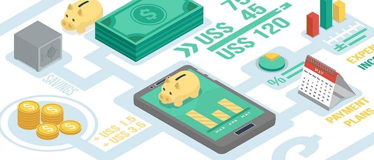 FinTech symbols including a piggy bank, coins, and statistics