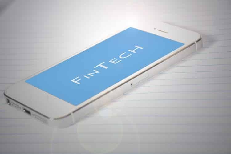 FinTech written on a smartphone screen