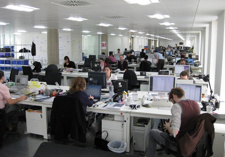People working in a office