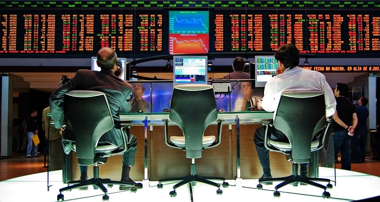 Brokers at the Sao Paulo stock exchange
