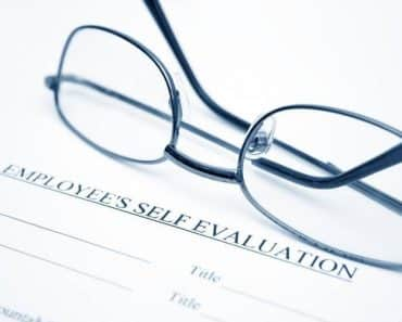 employee self evaluation form with glasses