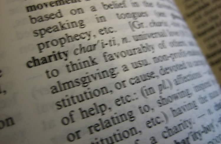 The definition of charity in a dictionary