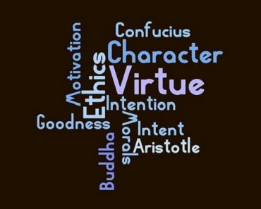 Wordcloud for virtue on a black background