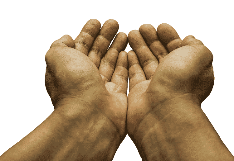 Hands cupped in a begging position