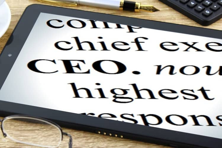 The definition of CEO on a tablet