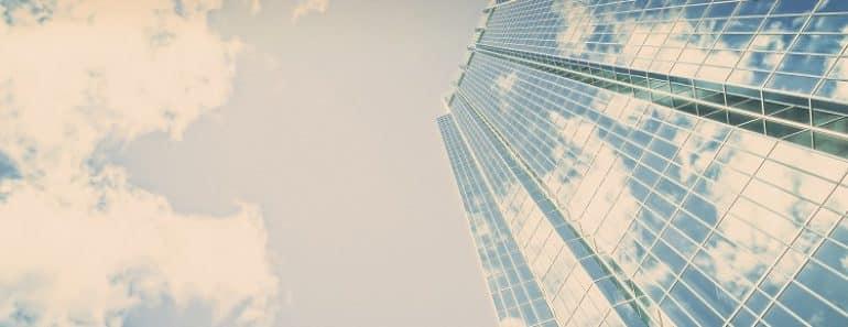 Clouds reflecting in a skyscraper