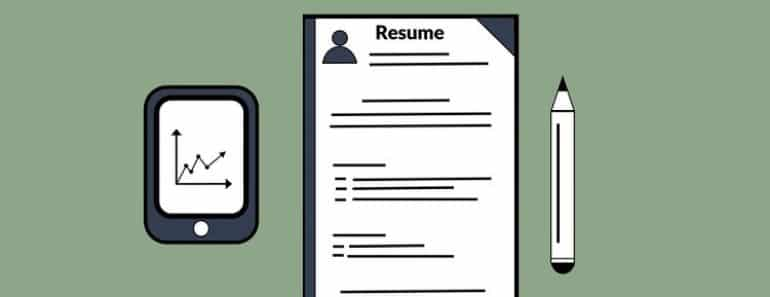 A resume placed next to a tablet, a pen, and two magnifying glasses