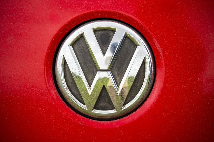 Volkswagen logo on a red car