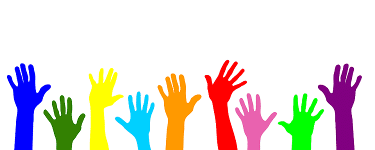 Colorful hands of volunteers raised in the air
