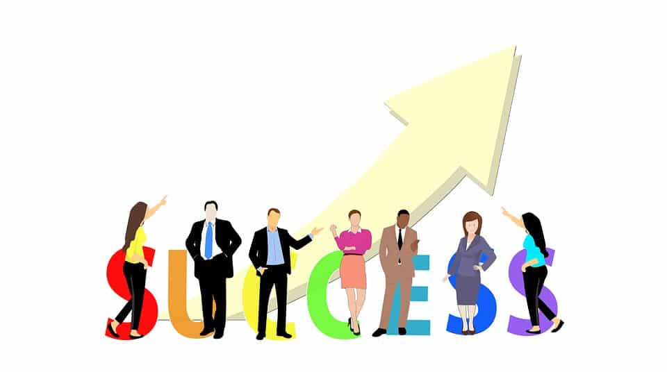 Success for business means sustainable growth, image is the word success with business people and an upward trending arrow