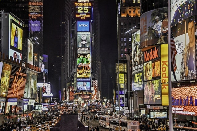 New York Logo Design all over Times Square in neon lights.