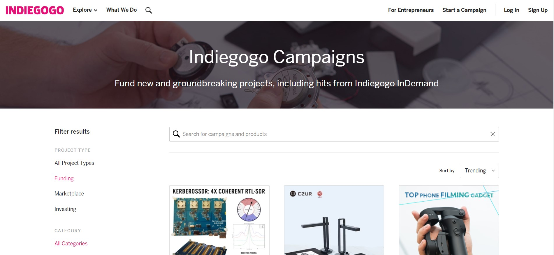 crowdfunding for business - homepage of indiegogo