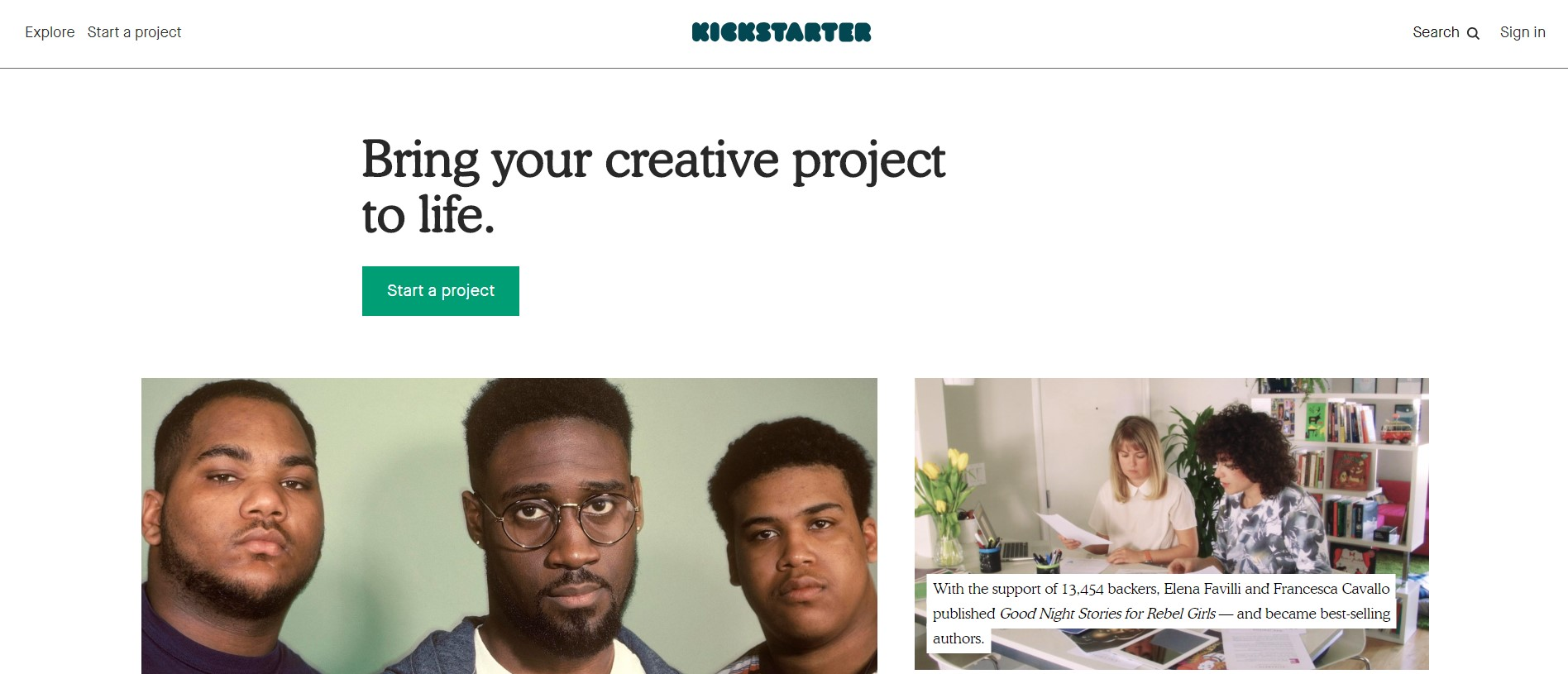 crowdfunding for business - homepage of kickstarter