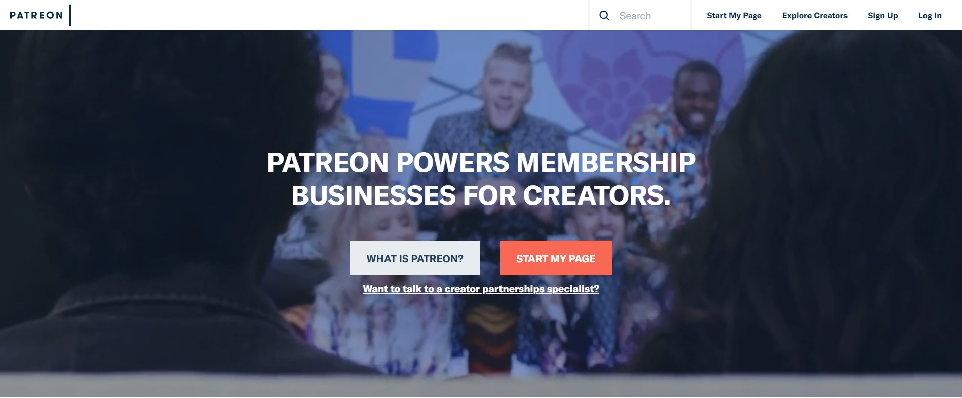 crowdfunding for business - homepage of patreon website
