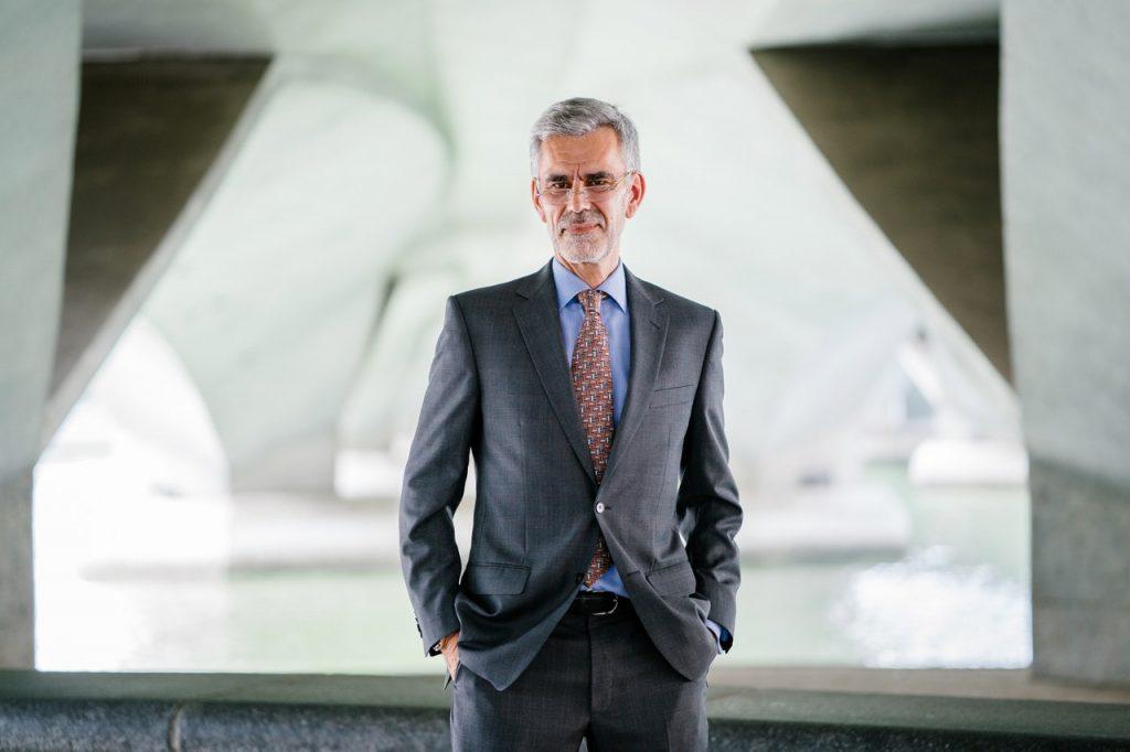 Man wearing gray suit jacket